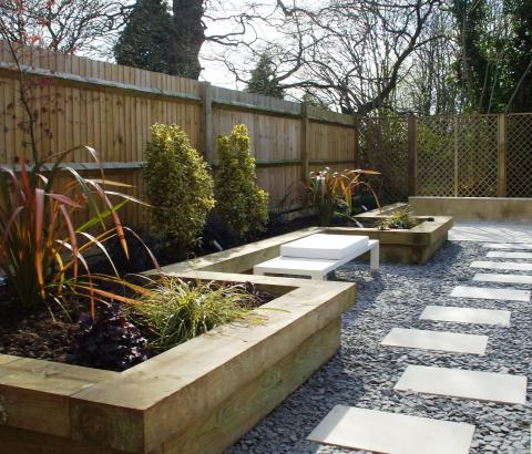 Contemporary Garden with Sleeper Raised Beds